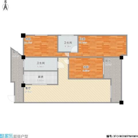 版纳一品3室1厅2卫1厨126.00㎡户型图