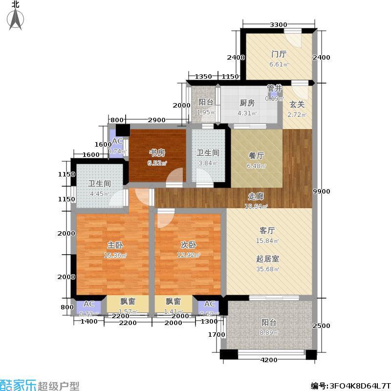 博雅海润广场134.60㎡C3户型(2期户型)户型3室2厅2卫