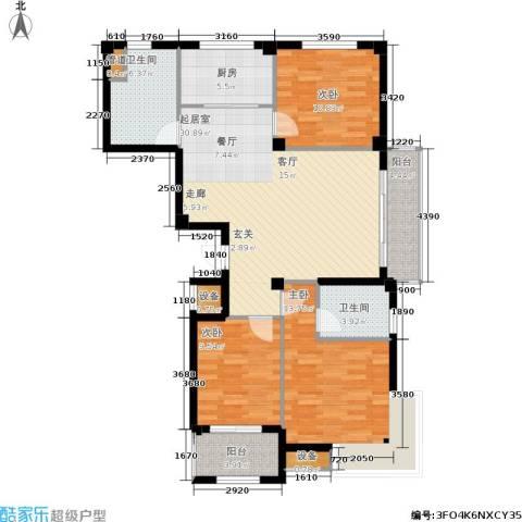 京华观邸3室0厅2卫1厨104.00㎡户型图