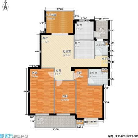 京华观邸3室0厅2卫1厨130.00㎡户型图