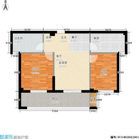 京华观邸2室0厅1卫1厨77.00㎡户型图