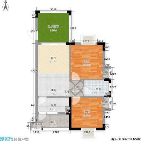 美林湖国际社区2室1厅1卫1厨71.00㎡户型图