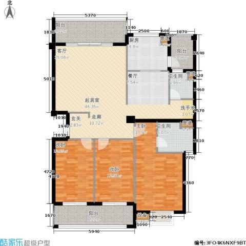 京华观邸3室0厅2卫1厨142.00㎡户型图