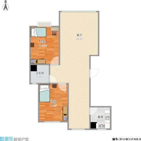 神华佳苑2室1厅1卫1厨94.00㎡户型图