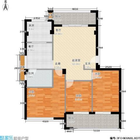 京华观邸3室0厅1卫1厨110.00㎡户型图