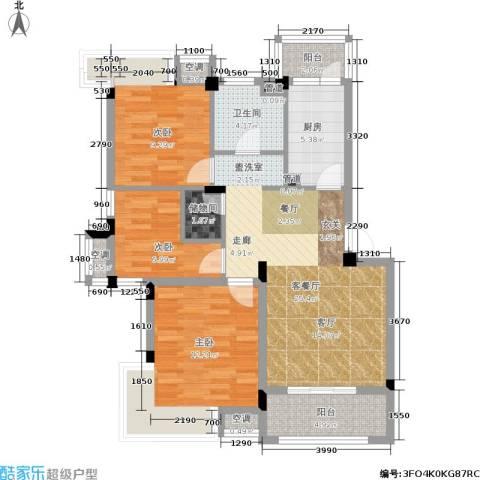 港城滴水湖馨苑3室1厅1卫1厨86.00㎡户型图