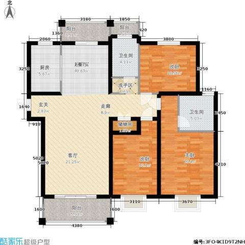 开祥天下城3室0厅2卫1厨156.00㎡户型图