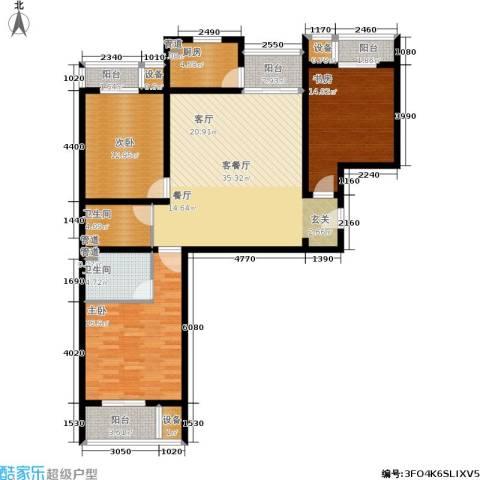 丽水苑3室1厅2卫1厨138.00㎡户型图