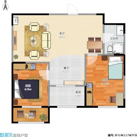 溪湖芳庭2室1厅1卫1厨79.00㎡户型图