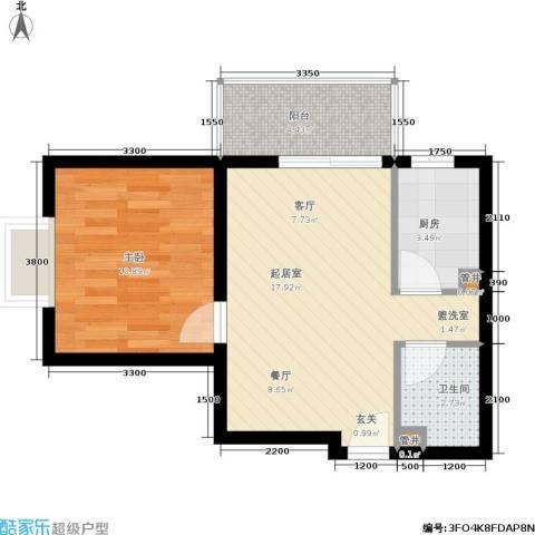 青城逸园1室0厅1卫1厨57.00㎡户型图
