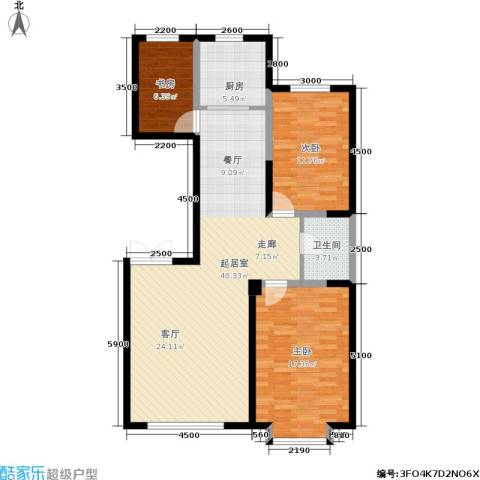 北大恒苑3室0厅1卫1厨114.00㎡户型图