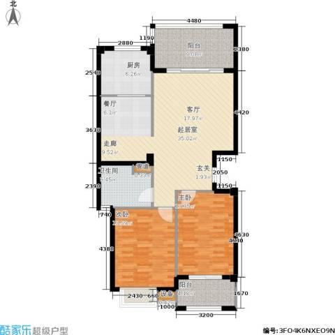 京华观邸2室0厅1卫1厨100.00㎡户型图