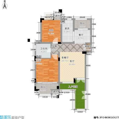 港城滴水湖馨苑2室1厅1卫1厨88.00㎡户型图