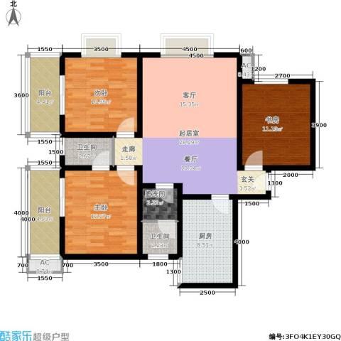 世纪锦城3室0厅2卫1厨122.00㎡户型图