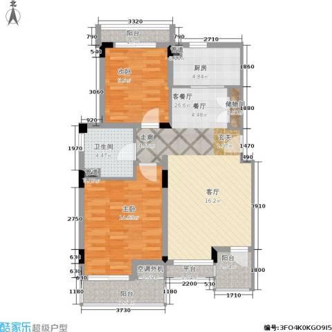 港城滴水湖馨苑2室1厅1卫1厨81.00㎡户型图