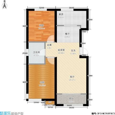 和泓四季恋城2室0厅1卫1厨84.00㎡户型图