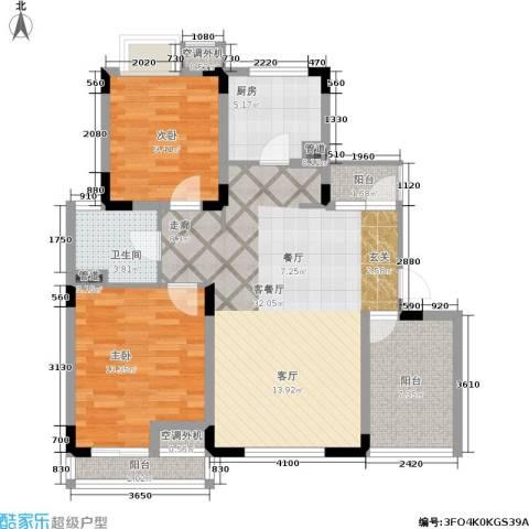 港城滴水湖馨苑2室1厅1卫1厨87.00㎡户型图