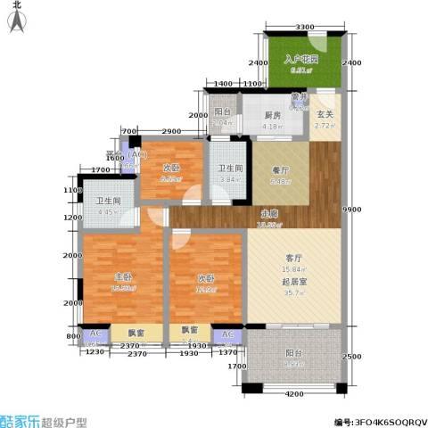 博雅海润广场3室0厅2卫1厨151.00㎡户型图