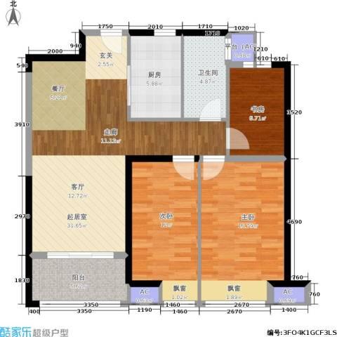 美的城3室0厅1卫1厨96.00㎡户型图