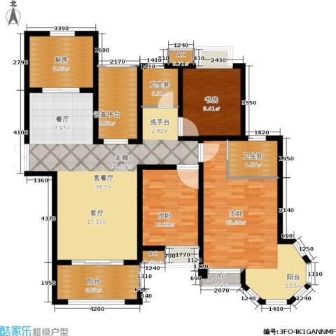 中南世纪城3室1厅2卫1厨130.00㎡户型图