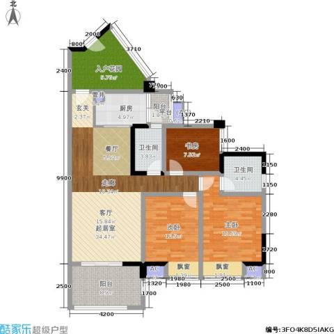 博雅海润广场3室0厅2卫1厨155.00㎡户型图