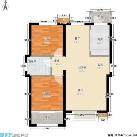 新城御景2室0厅1卫1厨94.00㎡户型图