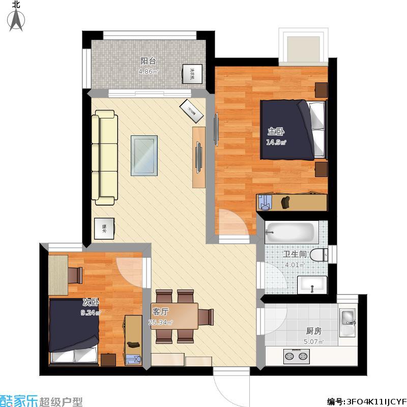 天泽苑86平方两室两厅