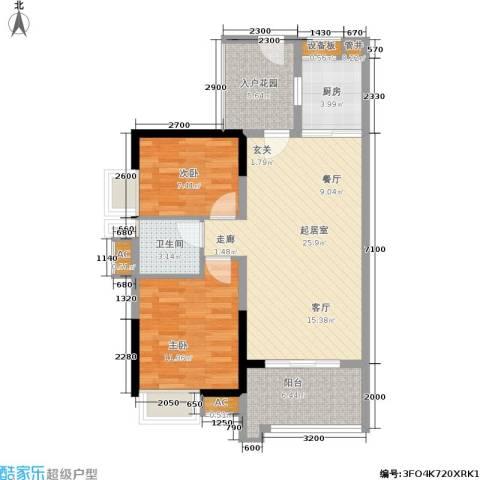 卓越东部蔚蓝海岸2室0厅1卫1厨81.00㎡户型图