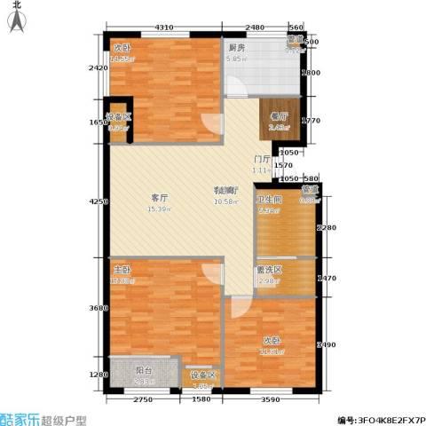 新业美居3室1厅1卫1厨125.00㎡户型图