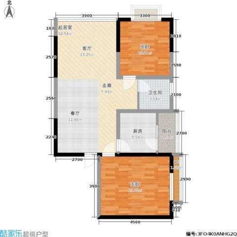 荣鼎・新苑2室0厅1卫1厨77.00㎡户型图