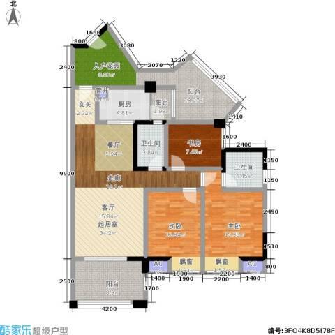 博雅海润广场3室0厅2卫1厨166.00㎡户型图