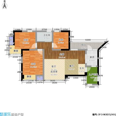 博雅海润广场3室0厅1卫1厨123.00㎡户型图