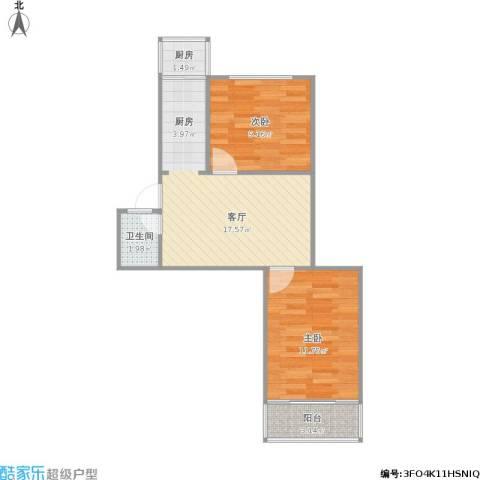 匡庐花园2室1厅1卫1厨61.00㎡户型图