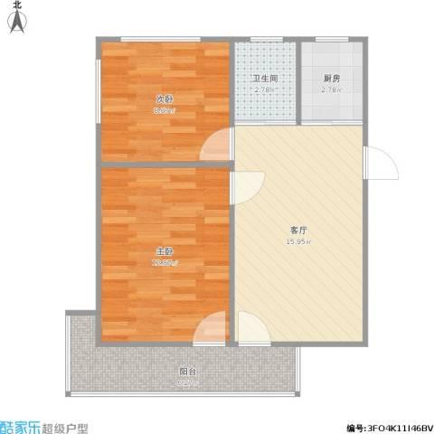 虹桥小区2室1厅1卫1厨67.00㎡户型图