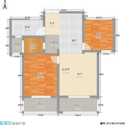 万佳裕园2室0厅1卫1厨88.00㎡户型图