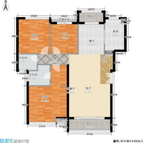 豪绅嘉苑3室1厅2卫1厨154.00㎡户型图