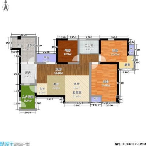 博雅海润广场3室0厅1卫1厨129.00㎡户型图