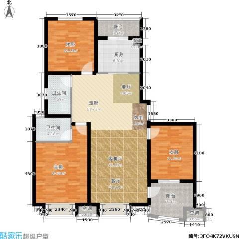清流水韵3室1厅2卫1厨124.00㎡户型图