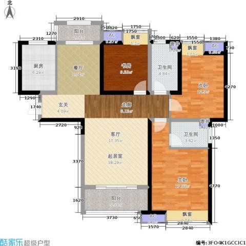 美的城3室0厅2卫1厨121.00㎡户型图