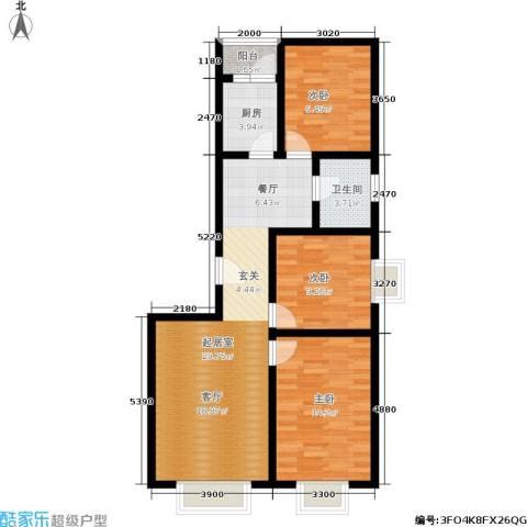 融和家园3室0厅1卫1厨83.44㎡户型图