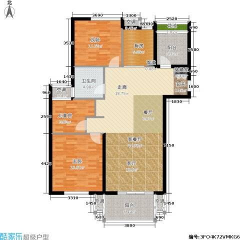 清流水韵3室1厅1卫1厨120.00㎡户型图