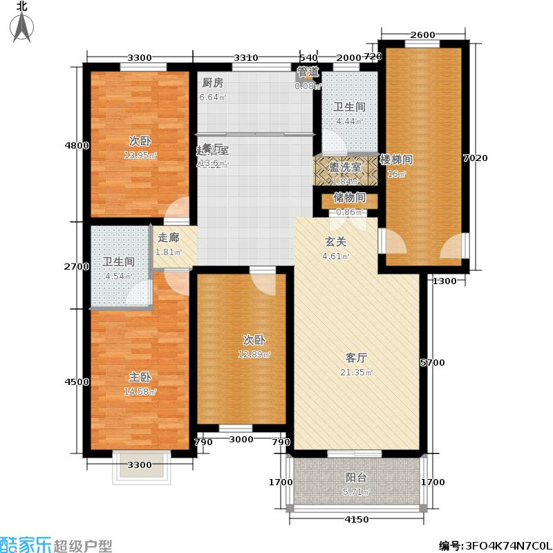 盛世春天三室两厅两卫6#7#C2户型图户型3室2厅2卫