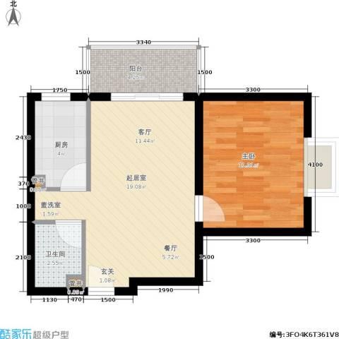 青城逸园1室0厅1卫1厨60.00㎡户型图