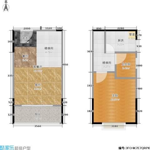 橡墅1室1厅1卫1厨57.00㎡户型图