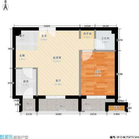 鼎晟金科凯城1室0厅1卫1厨74.00㎡户型图