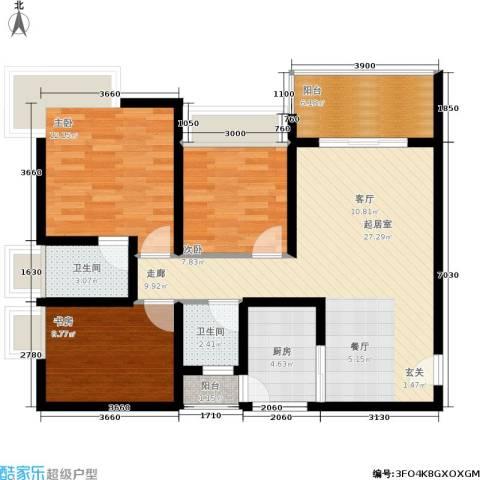樊华似锦3室0厅2卫1厨100.00㎡户型图