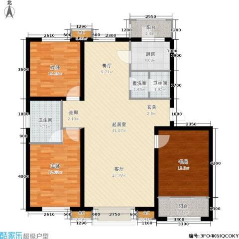 新城御景3室0厅2卫1厨128.00㎡户型图