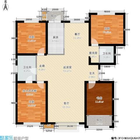 新城御景4室0厅2卫1厨167.00㎡户型图