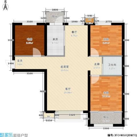 新城御景3室0厅1卫1厨107.00㎡户型图