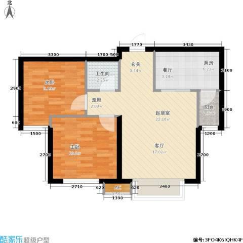 新城御景2室0厅1卫1厨74.00㎡户型图